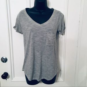 Aerie Real Soft Tee Olive And White Stripes Small